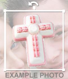 Pegatina de una cruz de color rosa y blanco para tus fotos