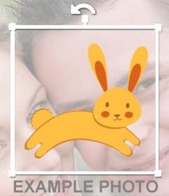 Pegatina con un conejo para pegar en tu foto