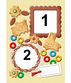Marco para fotos con forma de galletas en el que podremos poner dos fotos y una tarjeta en la que escribir una breve nota