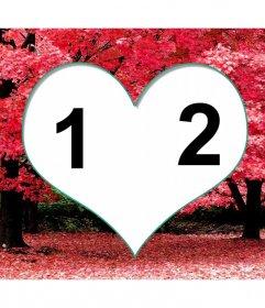 Marco para dos fotos dentro de un corazón sobre cerezos en flor