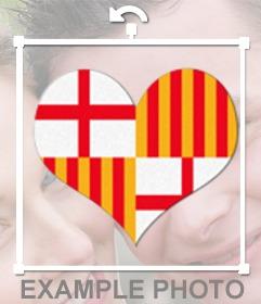Corazón con el escudo de la ciudad de Barcelona para poner en tu foto
