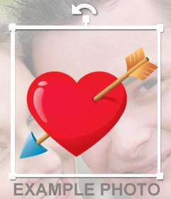 Sticker con un corazón con una flecha ideal para poner en una foto con tu pareja