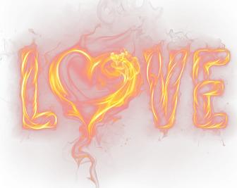 Efecto para fotos de letras de LOVE con un corazón en llamas