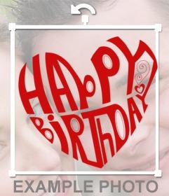 Png de un corazón con las letras de feliz cumpleaños