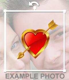 Corazón con borde de oro y una flecha para pegar en tus fotos como sticker