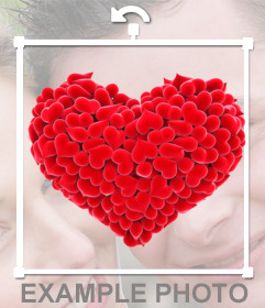 Pegatina de un corazón hecho con más corazones