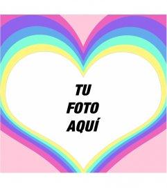 Marco para fotos de un corazón con un arco iris