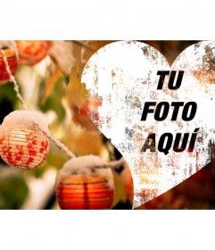 Corazón de Navidad para poner de foto de portada en Facebook