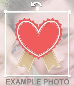 Corazón en sticker que podrás colocar en tus fotos con editor online