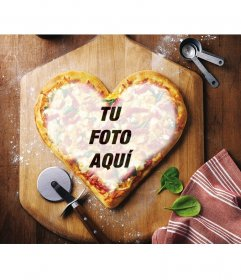Efecto online para poner la imagen que queiras en forma de corazón en una pizza