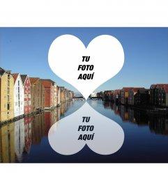 Postal para dos fotos de Trondheim