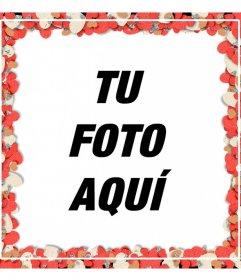 Marco para fotos de corazones con confetti