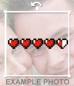 Barra de vida con corazones pixelados para añadir en tus fotos gratis