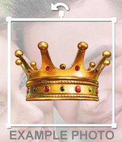 Pegatina con una corona de oro con diamantes