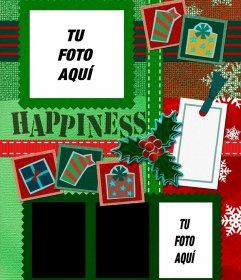 Fotomontaje de Navidad para cuatro fotos de color verde y rojo