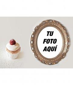 Collage de un marco de fotos dorado con un cupcake