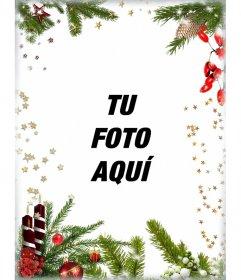 Postal con decoración navideña para personalizar tu foto