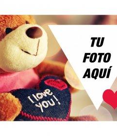 Postal de San Valentín con un osito para personalizar con tu foto