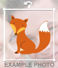 Adorable pegatina de un pequeño zorro sentado para añadir en tu foto