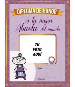 Diploma online personalizado para imprimir a la mejor abuela del mundo donde podrás poner una foto de los nietos