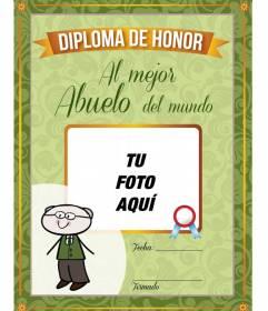 Diploma para imprimir al mejor Abuelo del mundo para personalizar con foto y texto online y gratis