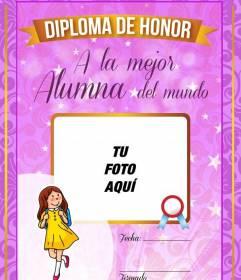 Diploma gratis rosa para la mejor alumna del mundo para poner una fotografía y una dedicatoria