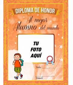 Diploma personalizado gratis al mejor alumno del mundo para colocar una imagen y texto