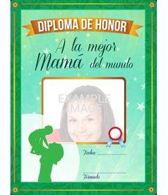 Diploma certificado a la mejor madre del mundo