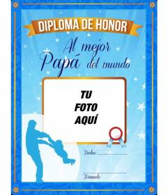 Diploma para el mejor padre del mundo