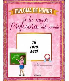 Diploma a la mejor profesora del mundo donde poner una foto con un fondo rosa
