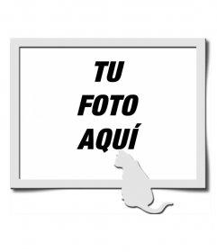 Marco para una fotografía digital, en el que podemos ver un marco gris, acompañado de la silueta de un gato del mismo color, apostada en la parte inferior derecha de la composición