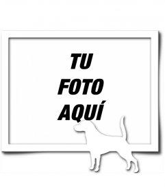 Marco para una fotografía digital, que consta de un borde gris y la silueta en blanco de un perro con el rabo levantado, como si hubiera encontrado un rastro