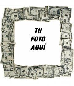 Marco para fotos hecho con billetes de dólar para poner tu foto de fondo