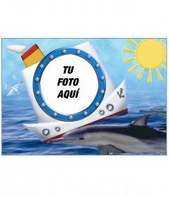 Marco para fotos, barco delfín y mar. Para poner tus fotos de vacaciones