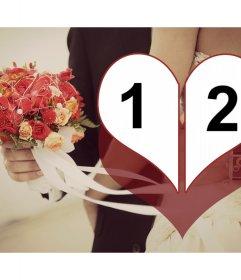 Collage de dos fotos de boda para personalizar