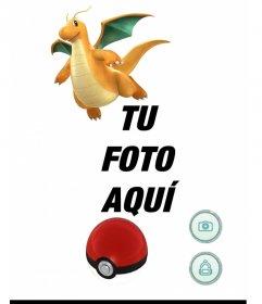 Fotomontaje de Pokemon Go con Dragonite donde puedes añadir una foto