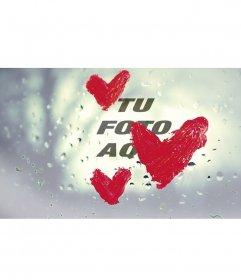 Efecto de cristal con gotas de lluvia con corazones pintados