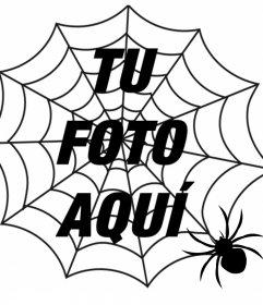 Pon una telaraña y una araña en tu foto, efecto de terror