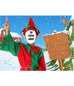 Fotomontaje de Elfo y cartel para enviar como tarjeta de navidad