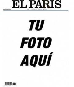 Tu fotografía en un marco imitando la portada de un periódico llamado El París