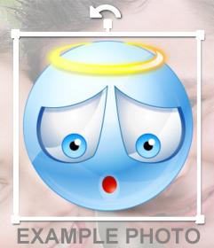 Emoticono de un ángel con corona para tus fotos