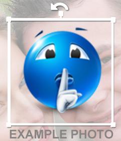 Sticker de un emoticono azul mandando callar que puedes poner en tus fotos online