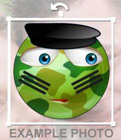 Emoticono vestido de militar para personalizar fotos