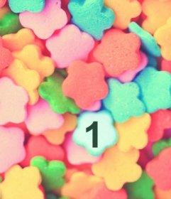Juego infantil para encontrar una foto en una pila de caramelos