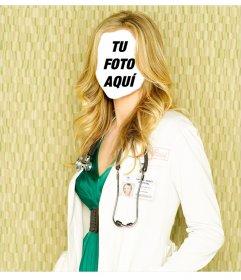 Fotomontaje editable para ser una enfermera rubia
