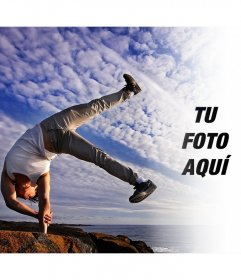 Fotomontaje de equilibrio entre cuerpo y mente con tu foto