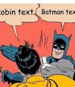 Creador de fotomontaje de la escena donde Batman le da un tortazo a Robin