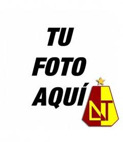Foto montaje con el escudo Deportes Tolima y tu foto de fondo