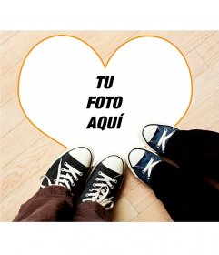 Collage juvenil con zapatos con un corazón grande