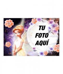 Fotomontaje de hada de pelo naranja con flores y vestido a juego con fondo violeta de motivos espaciales y un marco esférico para incluir tu foto